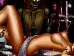 Parodia porno de dibujos animados de Star Wars