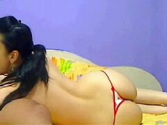 Lesbian Teen In Thin Thong Shakes Her Sexy Ass -