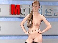 Caliente putita Olga Barz es una jovencita Rusa de Moscu que se pone cachonda realizando striptease en vivo por TV