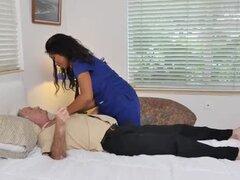 Ebony nurse beauty riding oldmans dick ontop