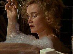 Infartante Retro estrellas Jessica Lange parpadea su Bush y aldabas