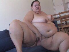 Gigantic belly on this solo BBW slut fucking a dildo - Cecile V.(45)