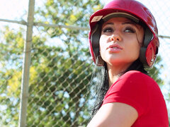 Audrey Bitoni hit the field for a little batting practice