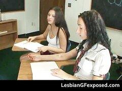 Estudiantes adolescentes teniendo sexo lésbico caliente part5