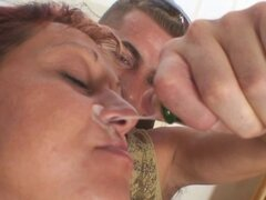 Lonely granny gets pounded by two dudes. Lonely granny gets pounded by two dudes