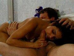 Dirty Latina with a hairy pussy enjoying a hardcore interracial fuck