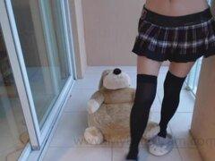 Travieso colegiala Adorable Jessy le hace cum en su traje de escuela