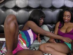 Dirty ebony-skinned lesbian with great juggs getting her wet pussy licked - Ana Foxxx, Lisa Tiffian