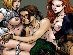 Sexo lésbico de famosos dibujos animados
