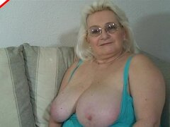 Grandma plays with her tits and cunt before giving head - Cricket