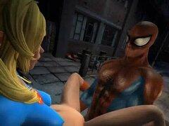 Supergirl 3D caliente follada duro por Spiderman