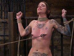 El esclavo de Alt azotó y abusó de la esclavitud. Atado y amordazado alt morena esclavo Krysta Kaos en la esclavitud de cuerda consigue perfecto culo azotado entonces en suspensión abusado y follada con polla en un palo y gemidos