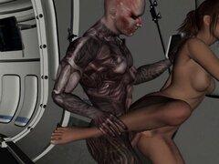 Hot Babe 3D digitación y follada por un extranjero. Boca de riego a babe brunette cartoon 3D se dedos y follada duro por un cyborg alienígena