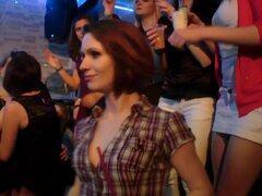 Doting babes get face fucked in a raunchy club orgy
