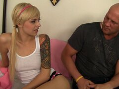 Skinny & petite tattoed teen pounded hard by an older guy - Emma Mae, Christian XXX
