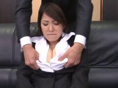 Big tits babe in stockings enjoying her pussy fingered in office group sex - Kokoro Maki