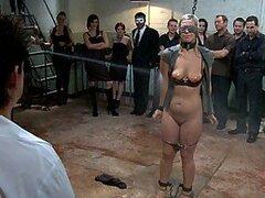 Sexy rubia puta humillada delante de una multitud
