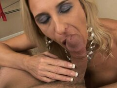 Amber Lynn gives a terrific blowjob and gets cum on her boobs - Amber Lynn