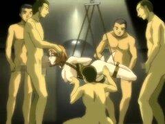 Niño desamparado es follada por una pandilla de muchachos de acción hentai